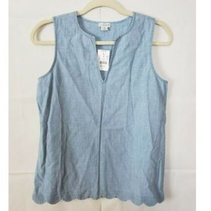 J.By J.Crew Blue Chambray Scalloped Sleeveless Top